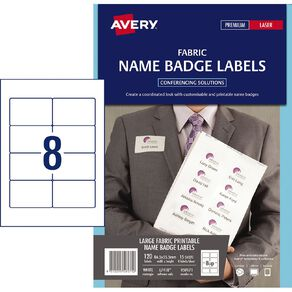 Avery Fabric Name Badge Labels White 120 Name Labels
