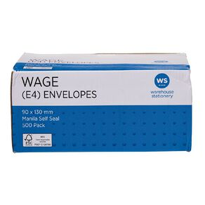 WS Envelope E4 Wage Self Seal 500 Pack Manilla