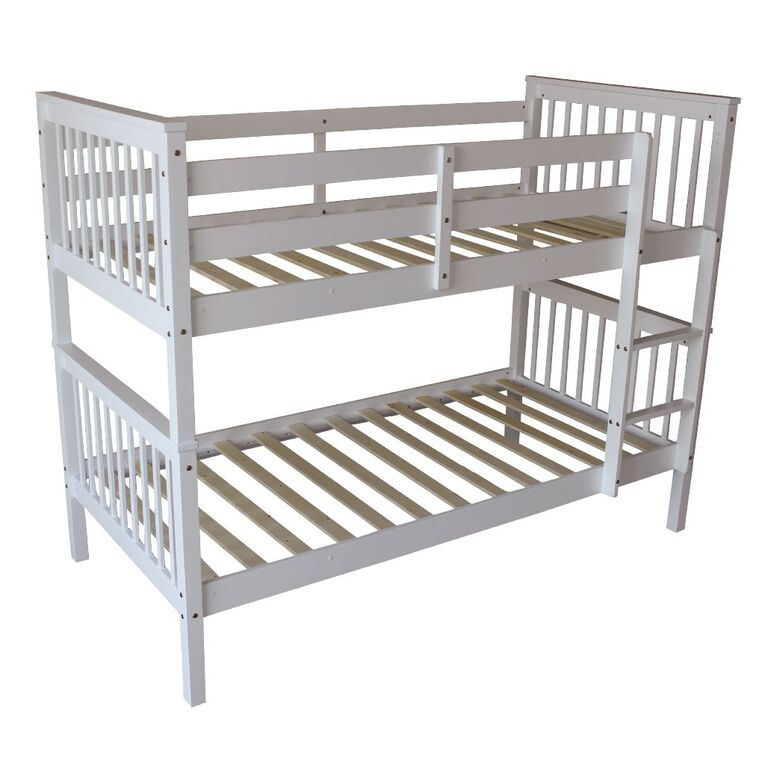 Living & Co Pine Wood Bunk Bed White Single, , hi-res