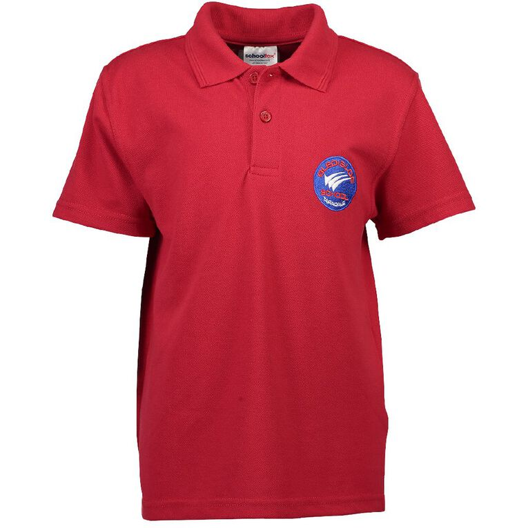 Schooltex Bledisloe Short Sleeve Polo with Embroidery, Red, hi-res