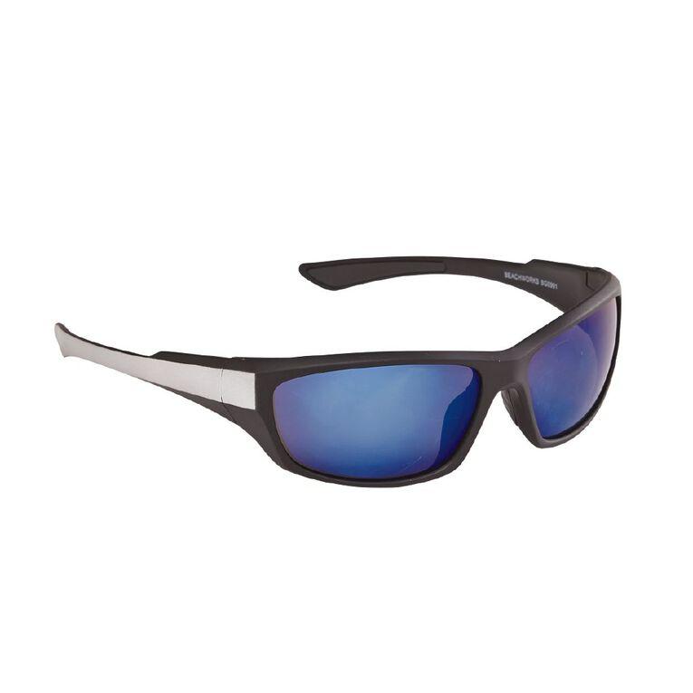 Beach Works Men's Polarised Mirror Wrap Sunglasses, Black, hi-res