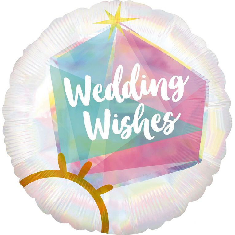 Anagram Iridescent Holographic Wedding Ring Foil Balloon Standard 17in, , hi-res