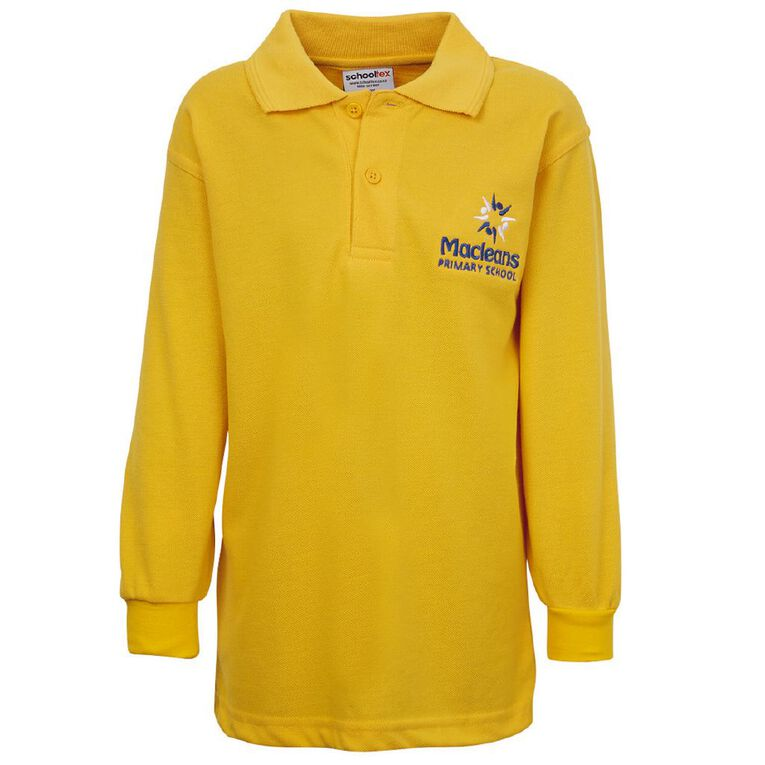 Schooltex Maclean Long Sleeve Polo with Embroidery, Gold, hi-res