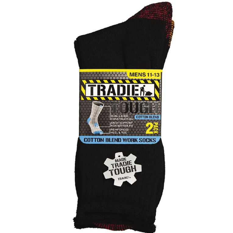 Tradie Men's Tough Work Socks 2 Pack, Black/Red, hi-res