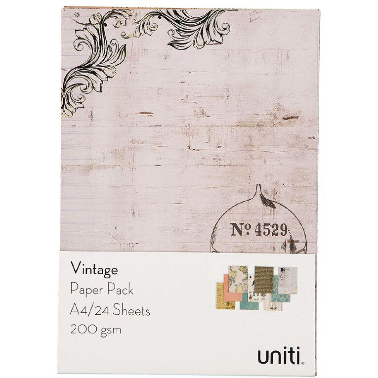Uniti Designer Paper Pack A4 24 Sheet Vintage, , hi-res