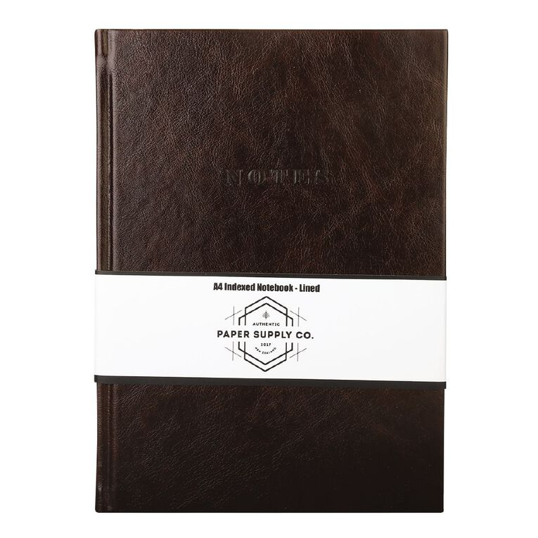 Paper Co Vintage Indexed Notebook Brown A4, , hi-res