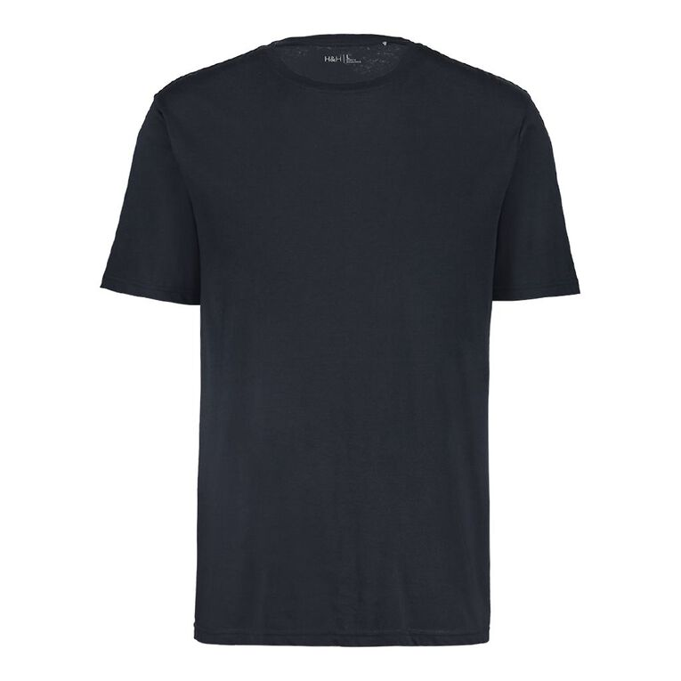 H&H Men's Crew Neck Short Sleeve Plain Tee, Navy, hi-res