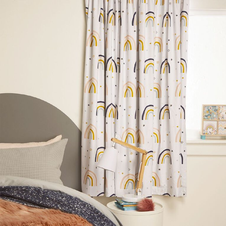 Living & Co Kids Curtains Rainbow White 230-330cm Wide/160cm Drop, White, hi-res