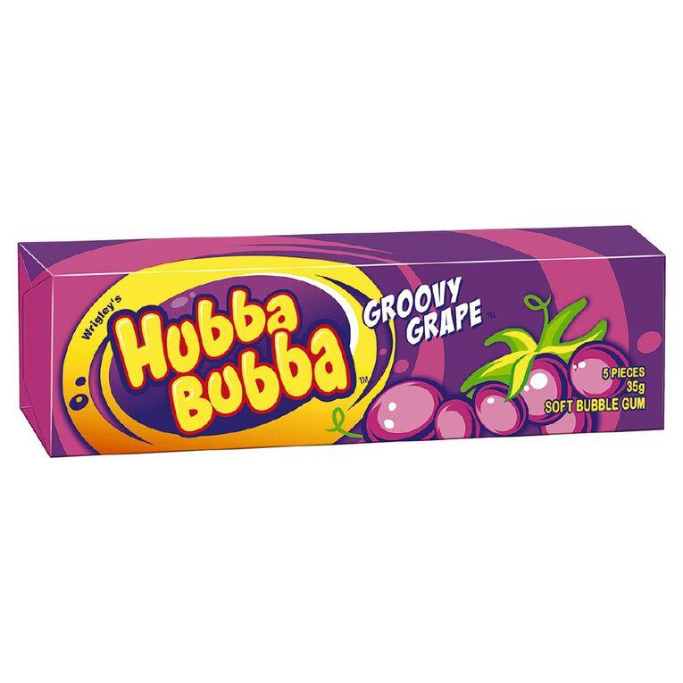 Hubba Bubba Groovy Grape Bubble Gum Chunk 5 Piece 35g, , hi-res