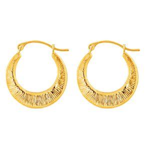 9ct Gold Pattern Hoop Earrings Small