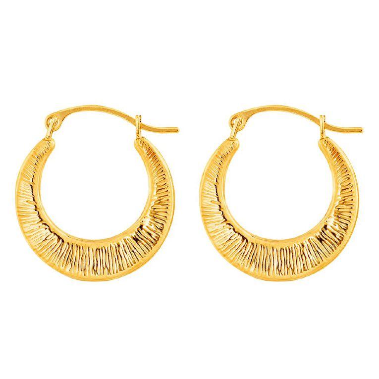 9ct Gold Pattern Hoop Earrings Small, , hi-res