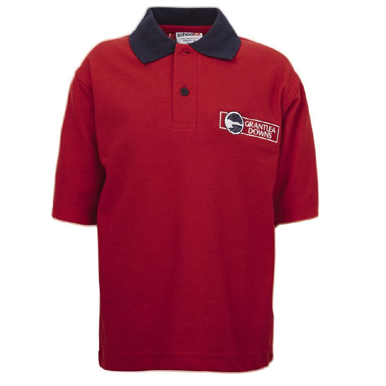 Schooltex Grantlea Downs Short Sleeve Polo with Embroidery, Red/Navy, hi-res