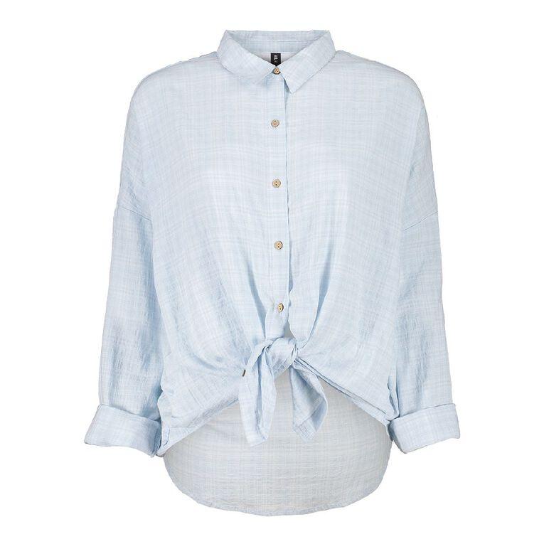 H&H Women's Textured Cotton Boyfriend Shirt, Blue Light, hi-res
