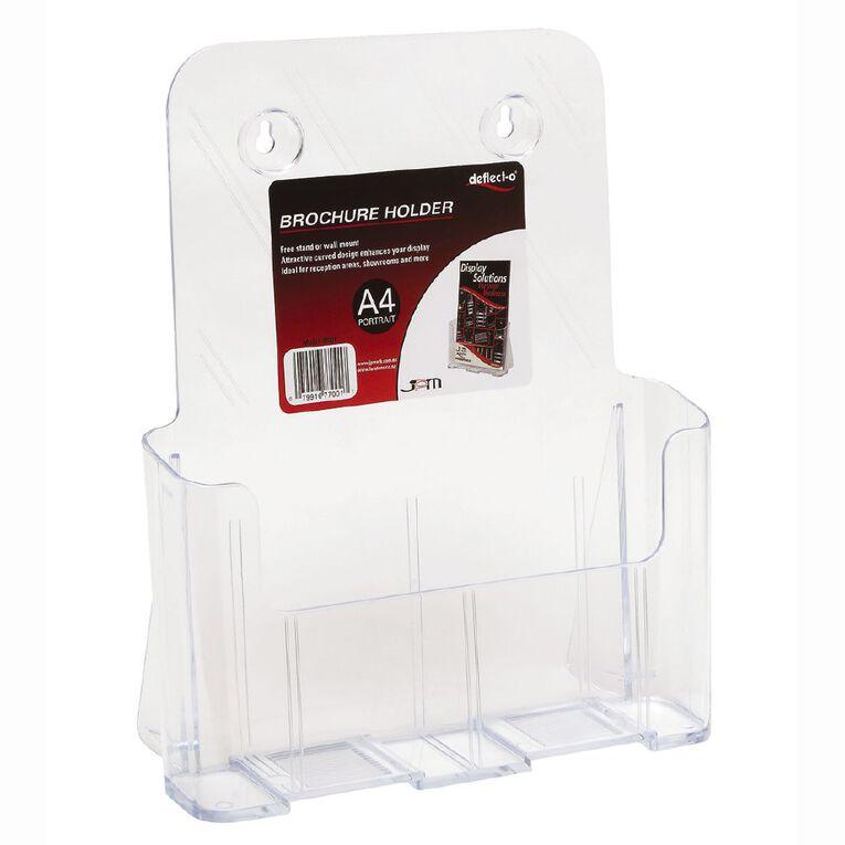 Deflecto Brochure Holder A4 Desk Wall Mountable Clear, , hi-res