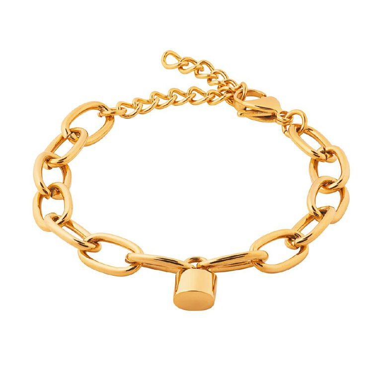 Stainless Steel Gold Plated Lock Bracelet, Yellow Gold, hi-res
