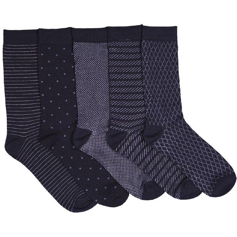 H&H Men's Business Crew Patterned Socks 5 Pack, Navy, hi-res