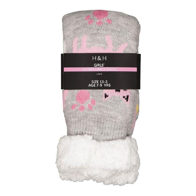 H&H Girls' Sherpa Bedsocks, Grey Light, hi-res
