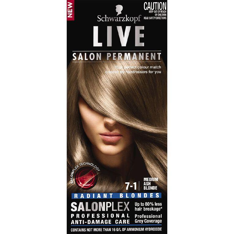 Schwarzkopf Live Salon Permanent 7-1 Medium Ash Blonde, , hi-res