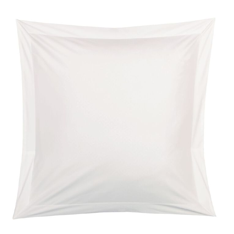 Living & Co Pillowcase Euro Cotton 400 Threadcount White 65cm x 65cm, White, hi-res