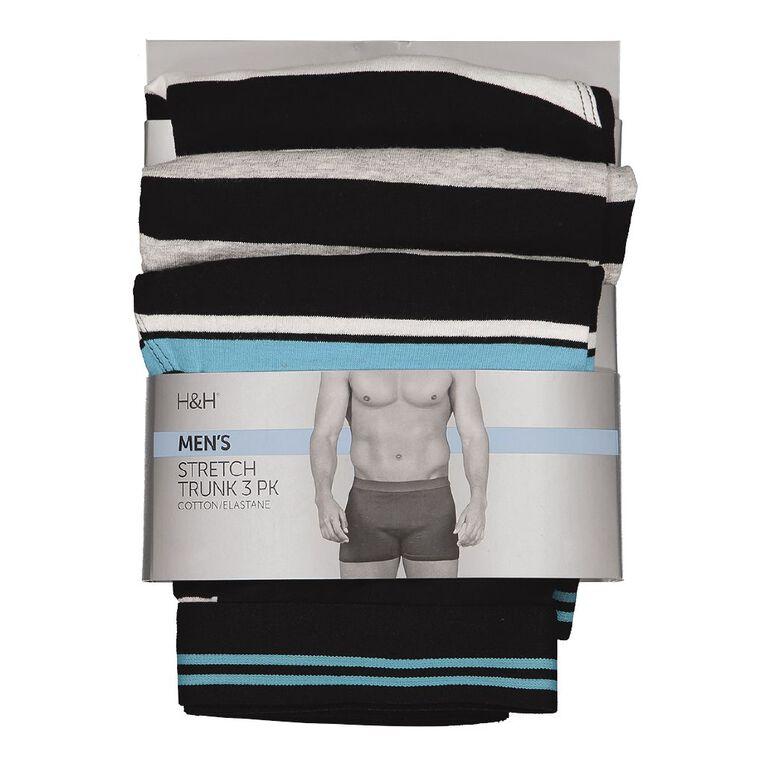 H&H Men's Stretch Boxer 3 Pack, Black/Blue, hi-res