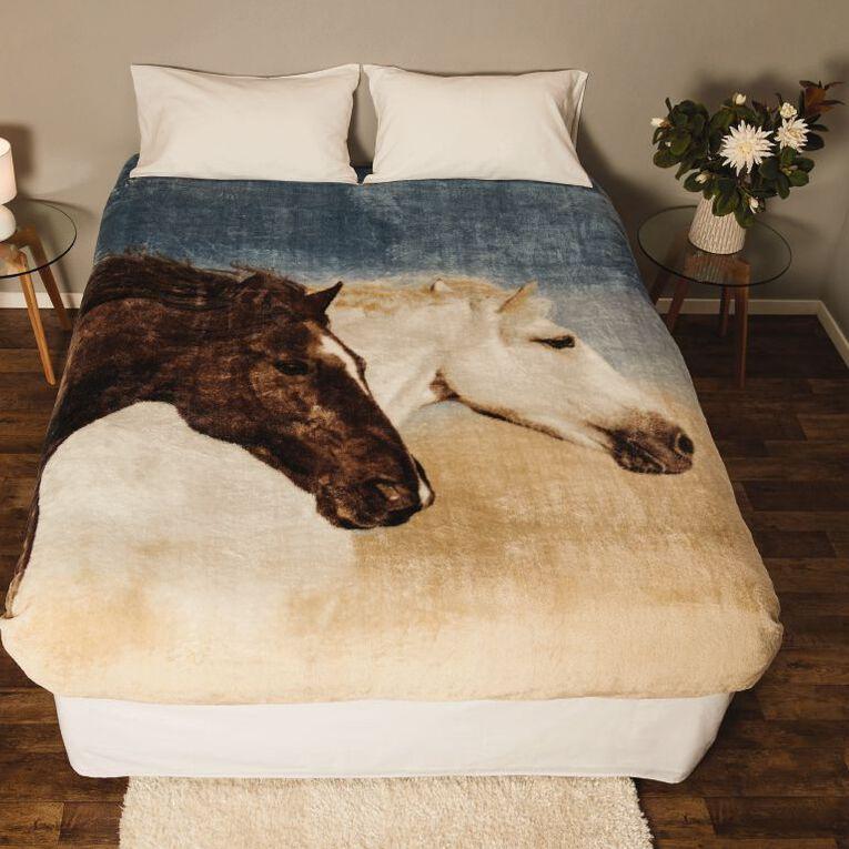 Living & Co Blanket Printed Mink Feel 400gsm Horse Queen, , hi-res image number null