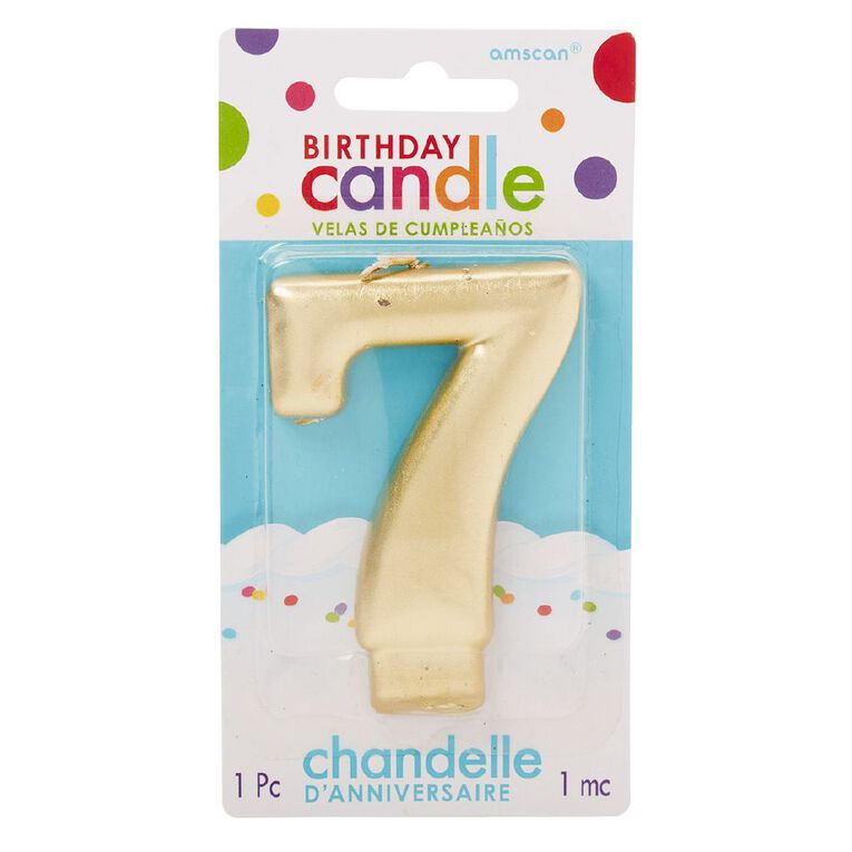 Candle Metallic Numeral #7 Gold, , hi-res