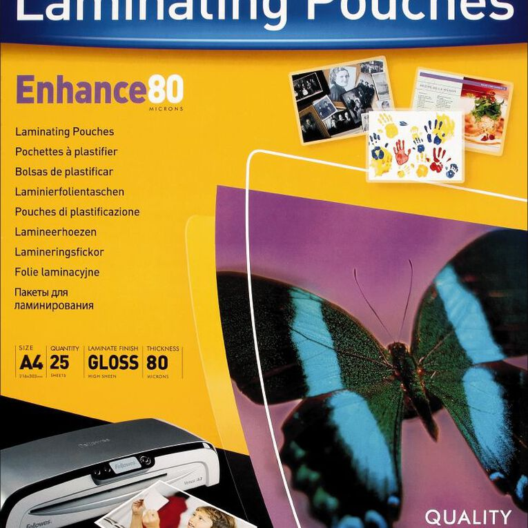 Fellowes Laminating Pouches A4 80 Micron 25 Pack, , hi-res