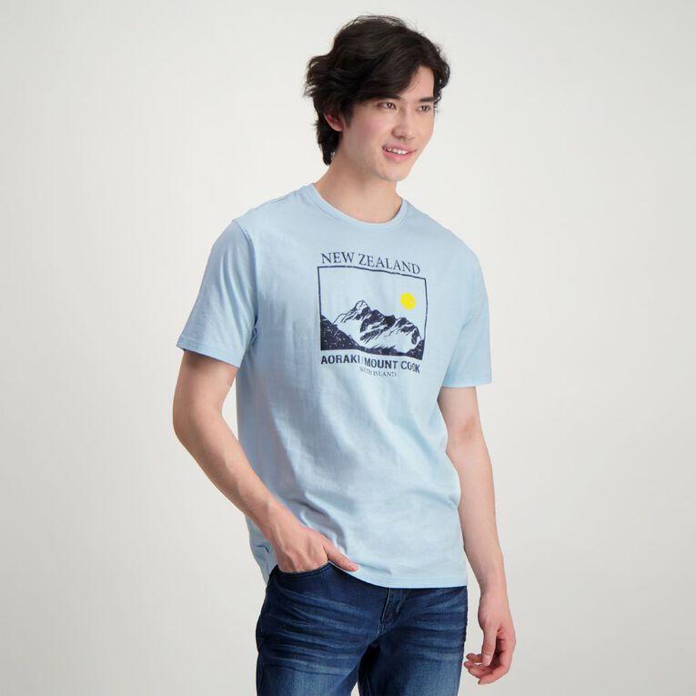 H&H Crew Neck Slogan Printed Tee, Blue Light, hi-res