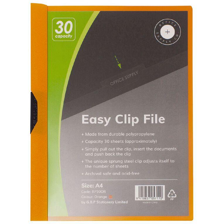 Office Supply Co Easy Clip File 30 Capacity Orange A4, , hi-res