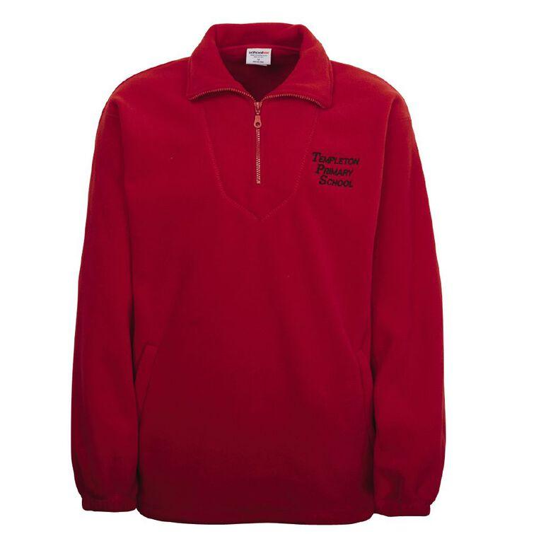 Schooltex Templeton School Polar Fleece Top with Embroidery, Red, hi-res