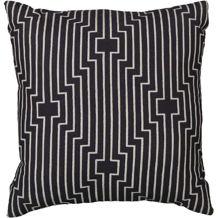 Living & Co Print Cushion Deco Charcoal 43cm x 43cm, Charcoal, hi-res