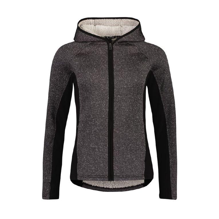 Active Intent Women's Outdoor Cosy Zip-Thru Sweatshirt, Charcoal/Marle, hi-res