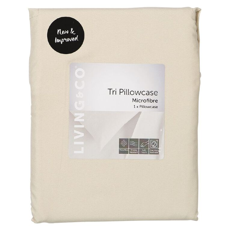 Living & Co Pillowcase Tri Microfibre Taupe 76cm, Taupe, hi-res