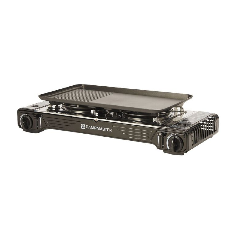Campmaster Double Burner Butane Stove with Hotplate, , hi-res