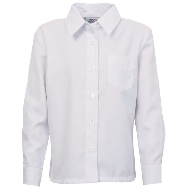 Schooltex Kids' Long Sleeve Winter School Blouse, White, hi-res