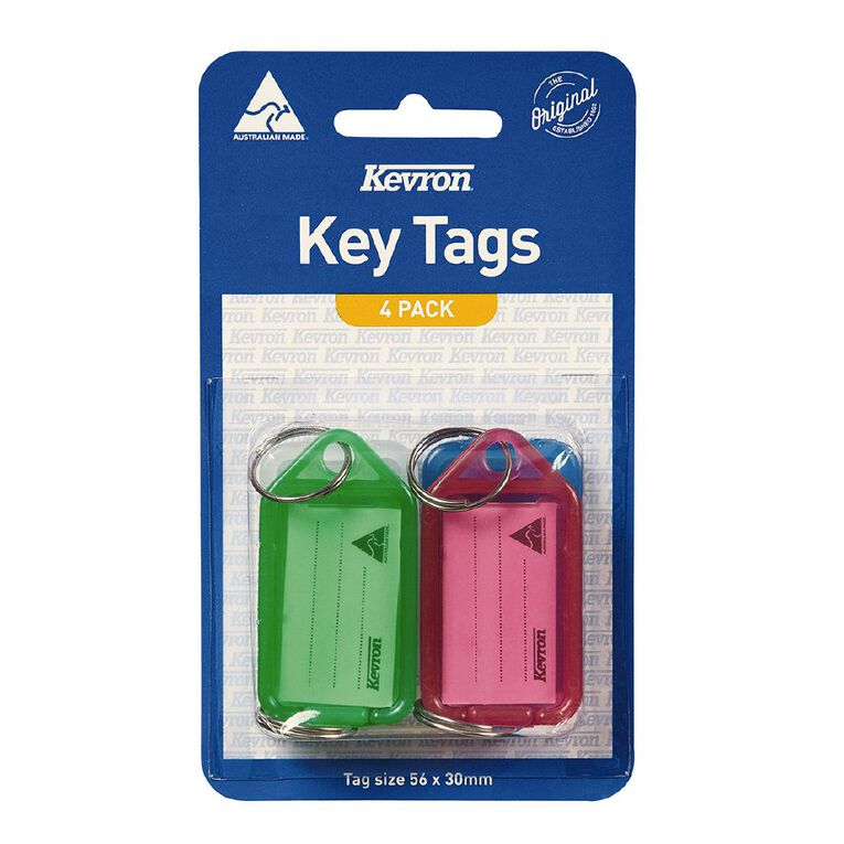 Kevron Key Tag Standard 4 Pack Assorted, , hi-res image number null