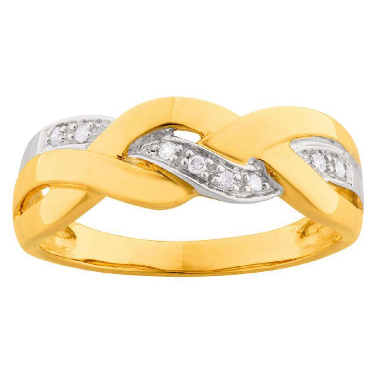 0.05 Carat Diamond 9ct Gold Chunky Braid Ring, Yellow Gold, hi-res