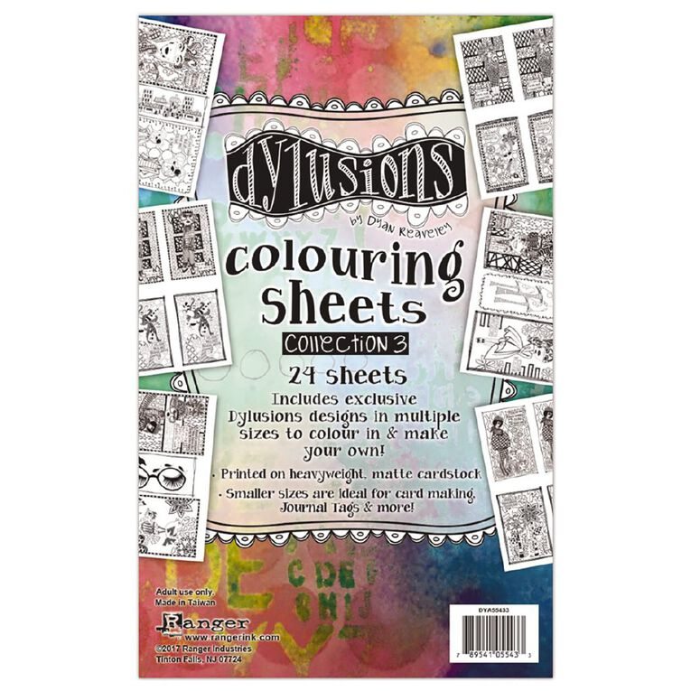 Ranger Dylusions Colouring Sheets 5 x 8 Inches Collection 3, , hi-res