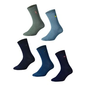 H&H Men's Embroidered Business Crew Socks 5 Pack