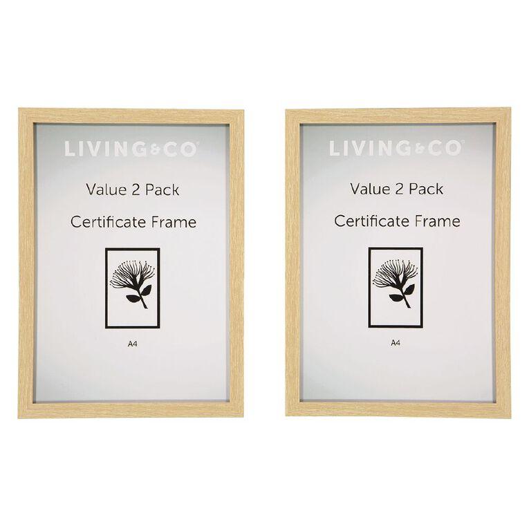 Living & Co Value Certificate Frame 2 Pack Natural A4, , hi-res image number null
