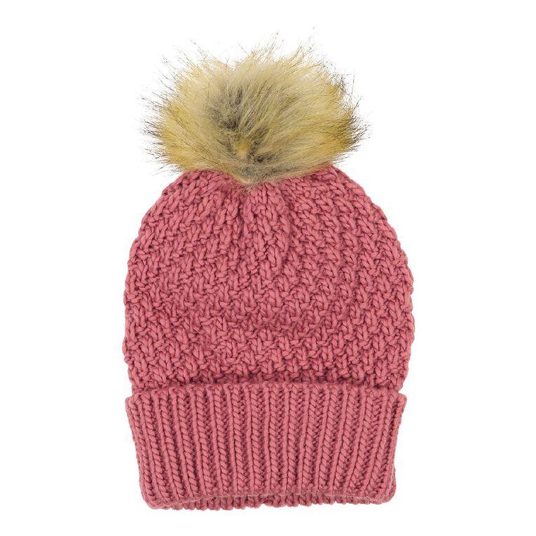 H&H Texture Faux Fur Beanie, Pink Mid, hi-res