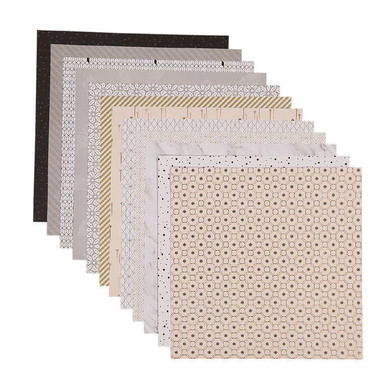 Uniti Designer Paper 12x12in 12 Sheets Neutrals Foils, , hi-res