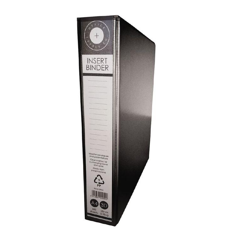 Office Supply Co 3D 38mm Ringbinder Black A4, , hi-res