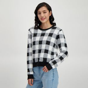H&H Women's Fluffy Jacquard Crew Jumper