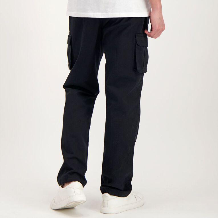 H&H Men's Elastic Waist Cargo Pants, Black, hi-res