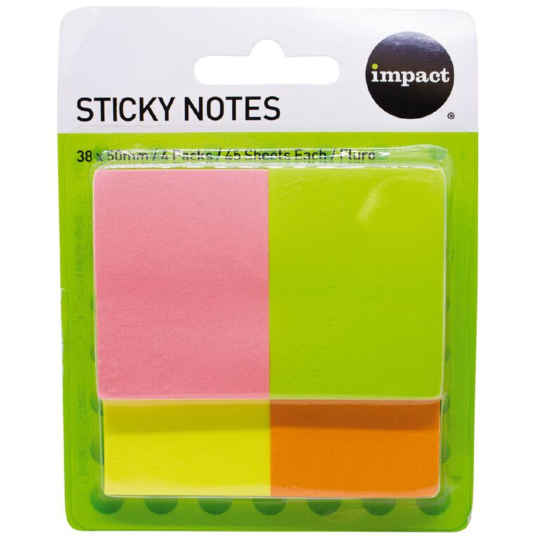 WS Fluro Sticky Notes 38mm x 50mm 45 Sheet 4 Pack, , hi-res