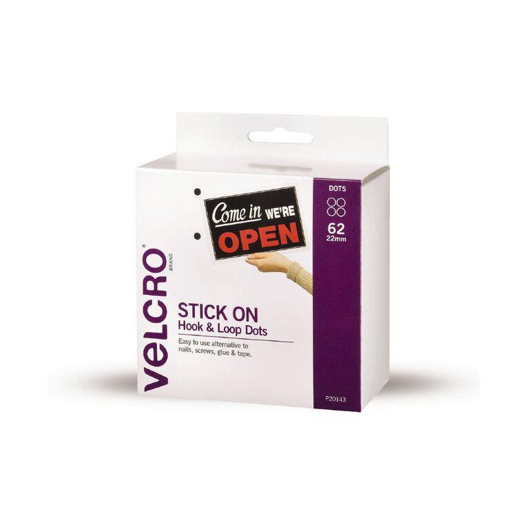 VELCRO Brand Hook & Loop Spots 22mm x 62 Sets White, , hi-res