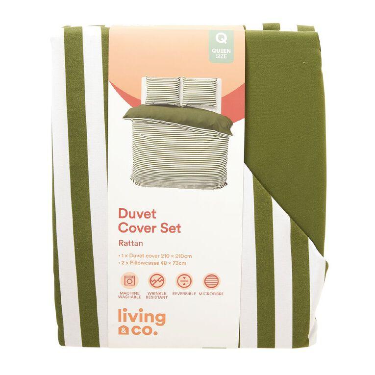 Living & Co Duvet Cover Set Microfibre Rattan Green Queen, Green, hi-res image number null