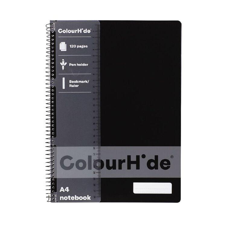 ColourHide Notebook 120 Page Black A4, , hi-res