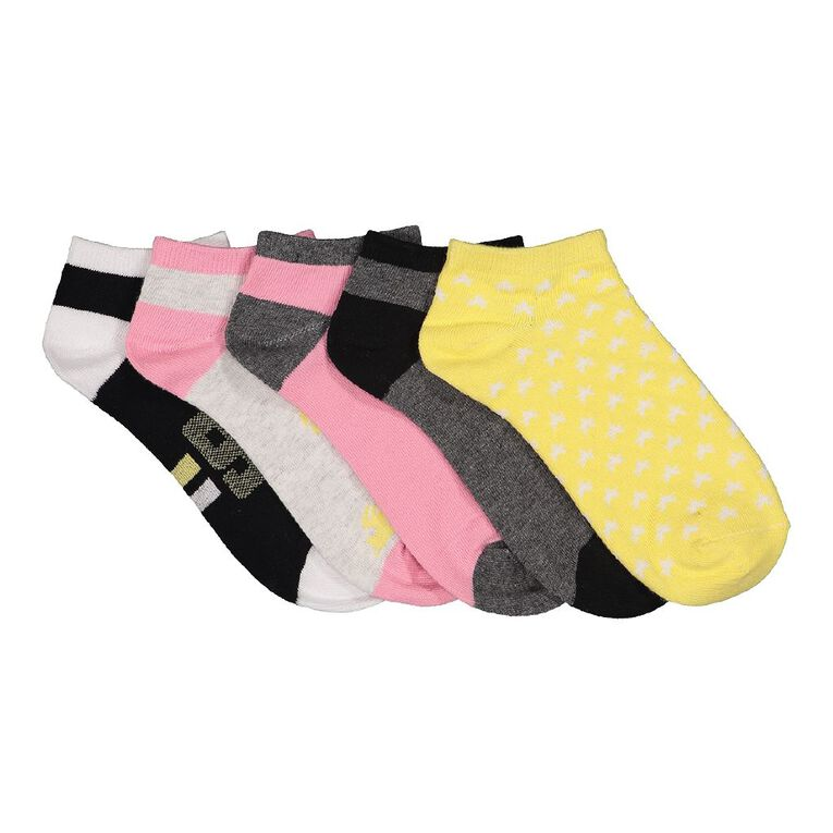 H&H Girls' Liner Socks 5 Pack, Yellow Mid, hi-res image number null